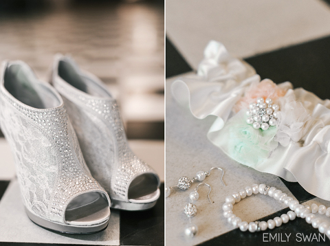 Grey and silver wedding details lace high heel shoes garter jewelry