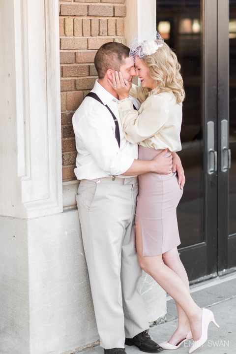 Cute candid couple laughing vintage clothing fun themed engagement photography
