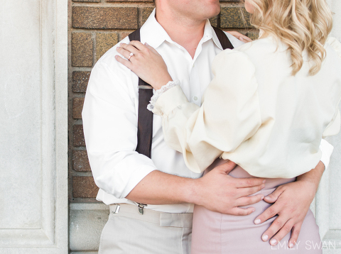 Details of vintage clothing downtown Sioux Falls themed engagement photography