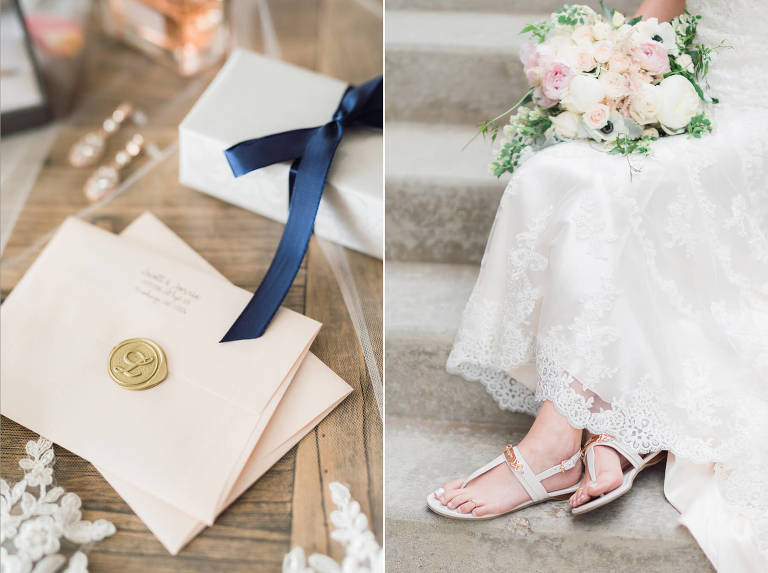 Modern pink and navy Sioux Falls wedding details