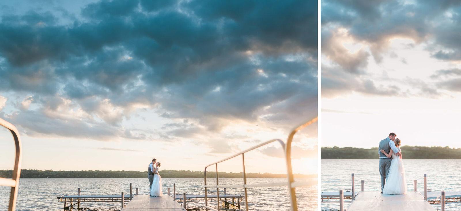 Romantic wedding portraits Big Stone Lake Minnesota