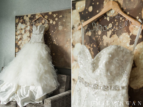Sweetheart neckline wedding dress and personalized wedding hanger
