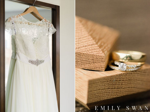 Cap sleeve wedding dress and gold rings