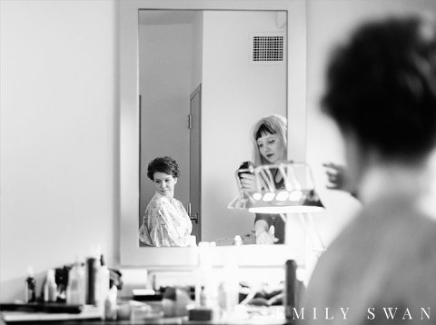 Black and white bride getting ready mirror reflection