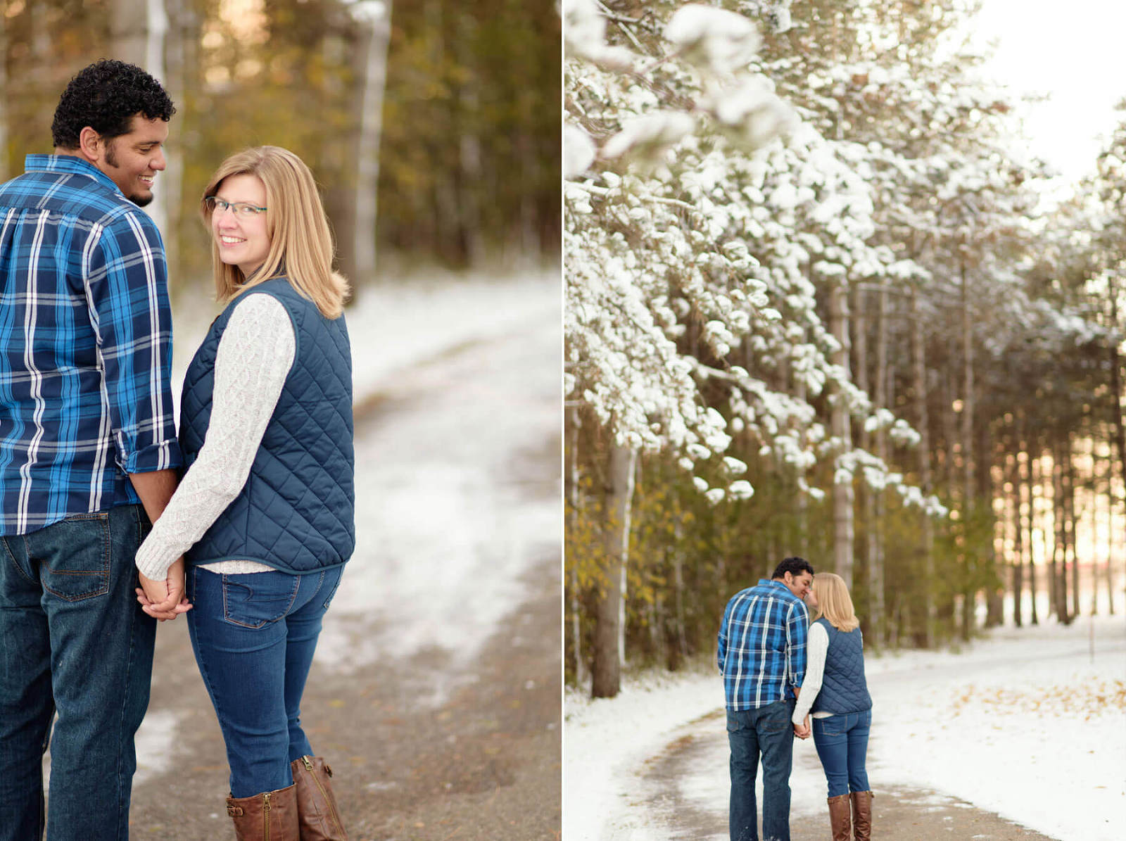 Fine art winter snow engagement photography