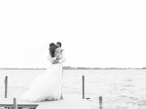 Black and white first look on lake dock