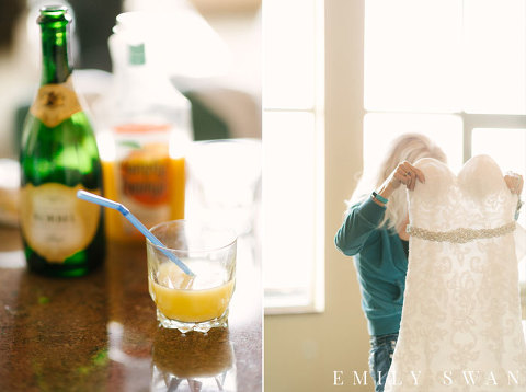 Strapless wedding dress and mimosas