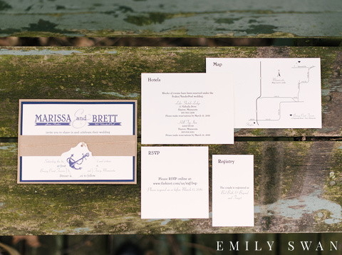 Nautical themed wedding stationery Lake Shetek MN
