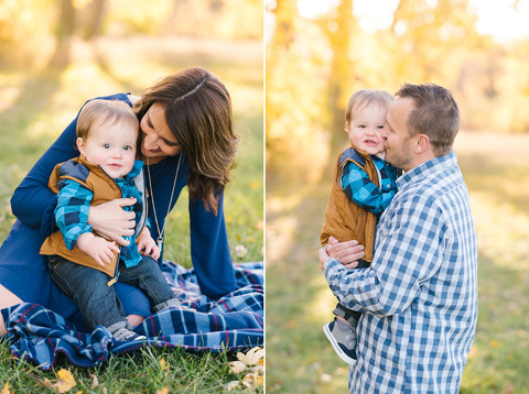 Bright and airy family pictures of mom and dad with toddler