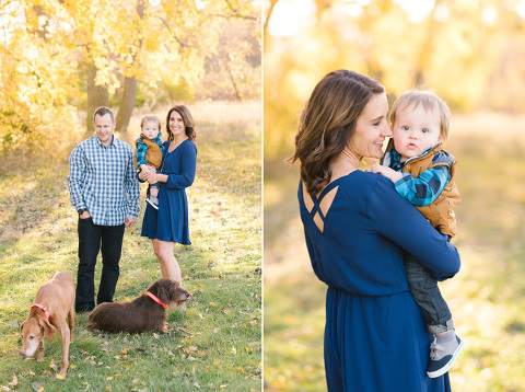 Candid engagement pictures with dogs and son in Sioux Falls