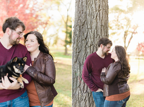 Engagement pictures of couple with puppy and fall colors