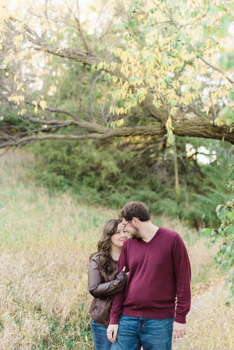 South Dakota Lake Mitchell engagement picture in autumn