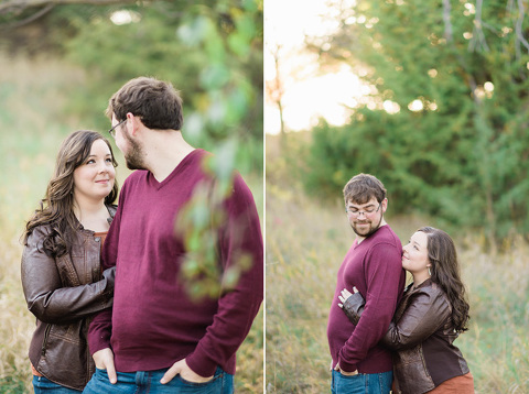 Engagement pictures of couple in nature Midwest lake