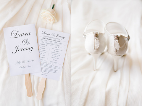 Classic black and white wedding programs and shoes