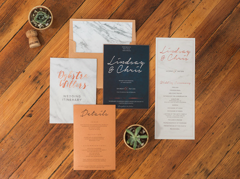 Modern marbled gold white and blue wedding invitation suite