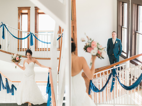 Wedding first look on staircase