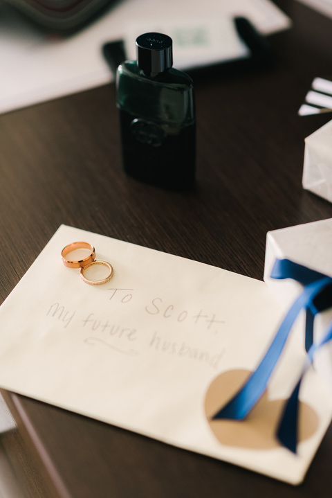 Letter and gift from the bride to groom on wedding day