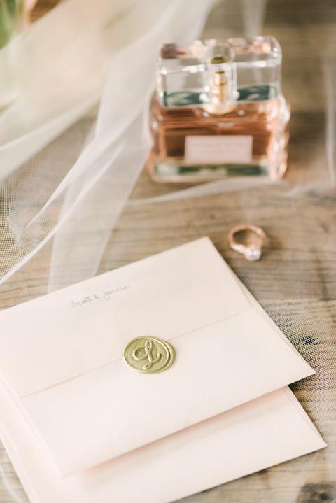 Wedding invitations pink envelopes custom monogram wax seal