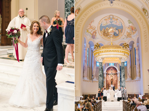 Bride and groom ceremony pictures in St. Joseph's Cathedral in Sioux Falls