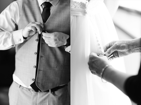 Black and white pictures of buttoning on wedding day