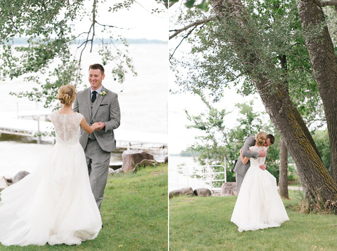 Romantic ideas for first look location on lake Minnesota wedding photography