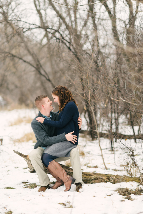 Natural Sioux Falls engagement photographer couple with snow
