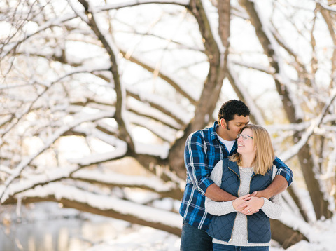 Sioux Falls snow winter engagement photo