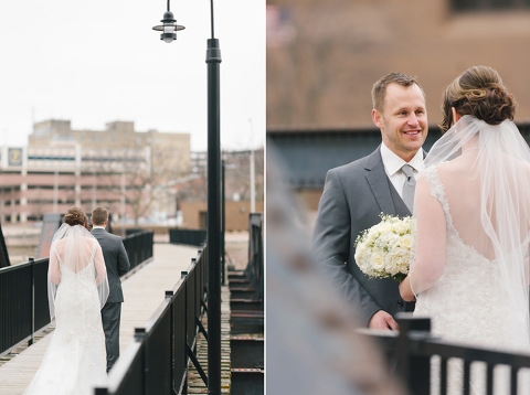 First Look On Bridge Downtown Sioux Falls Wedding Photographer