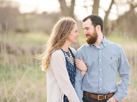 Coordinating blue engagement outfits South Dakota photographer