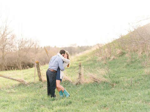 Beautiful Midwest nature engagement photo dipping kiss