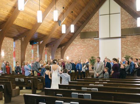 Sioux Falls wedding ceremony bride with children