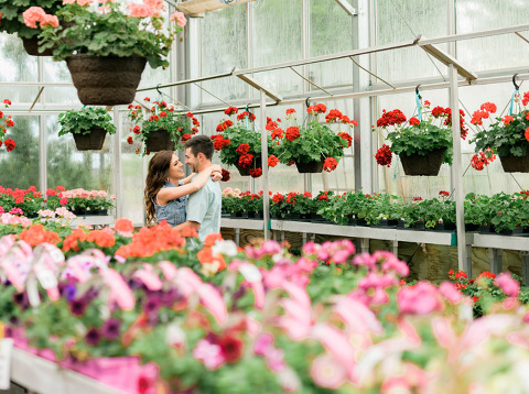 Rainy day Sioux Falls engagement session in greenhouse
