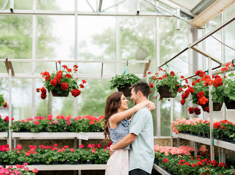 Midwest fine art engagement photography in greenhouse