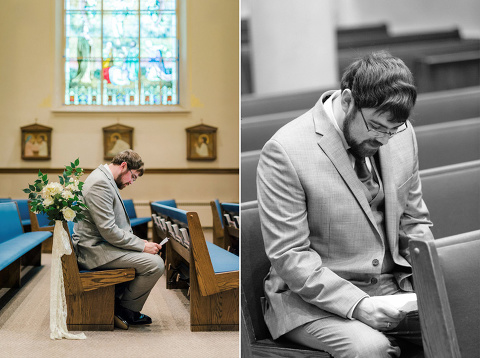 Groom reading letter from bride to be ivory greenery lace church decorations