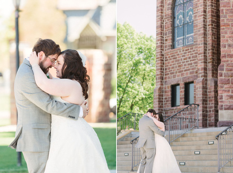 Midwest fine art wedding photography first look on church steps