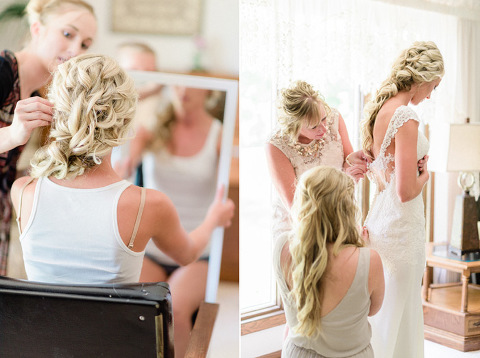 Bride with romantic modern braid hairstyle getting dressed in natural light MN wedding