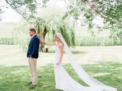 Bride cathedral length veil first look willow tree outdoor Minnesota wedding photography