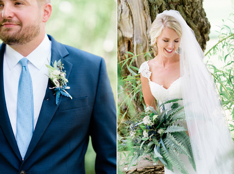 Natural greenery wedding flowers blue suit fine art wedding Emily Swan Photography