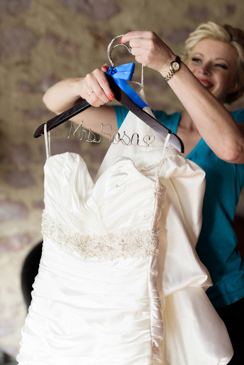 Personalized name dark wood wedding dress hanger with blue ribbon