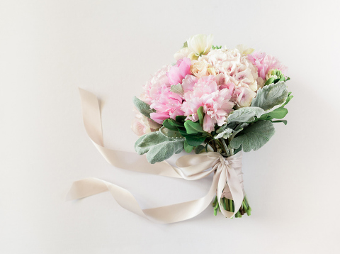 Pink and ivory summer wedding bouquet with silk ribbon