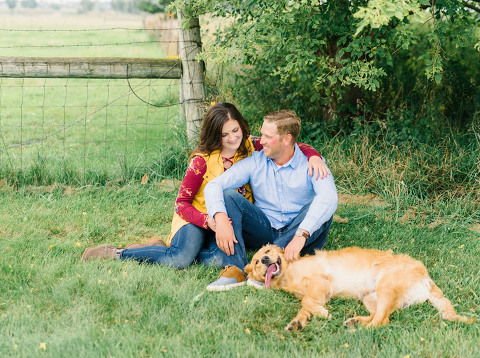Engaged couple with happy relaxed dog Luverne, MN Blue Mounds engagement