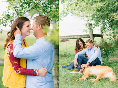 Bright and airy Luverne, MN engagement pictures with dog country