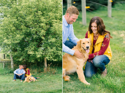 Couple playing with golden retriever dog country engagement Luverne