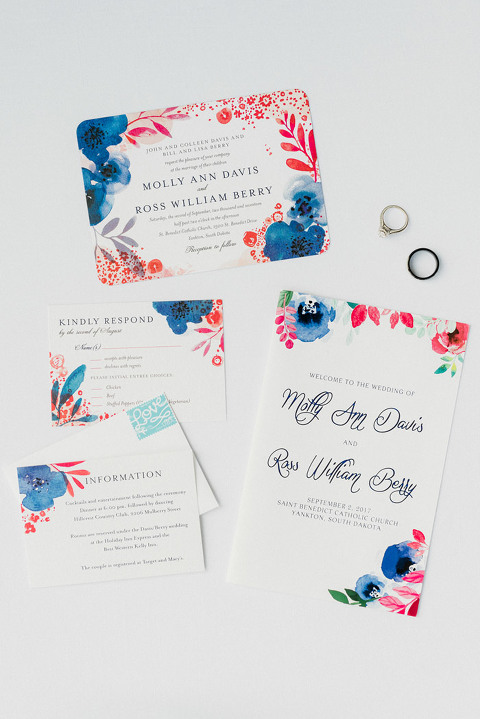 Invitation suite modern pink and blue floral watercolor stationery