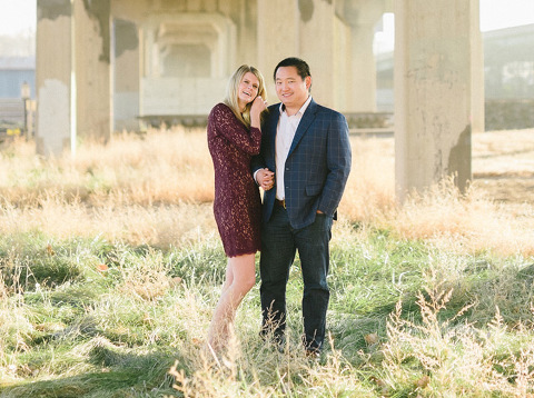 Couple laughing sunrise destination engagement photography Sioux Falls