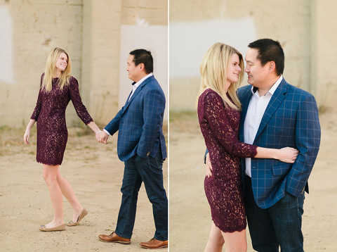 Lace dress and custom suit jacket engagement photography downtown Sioux Falls