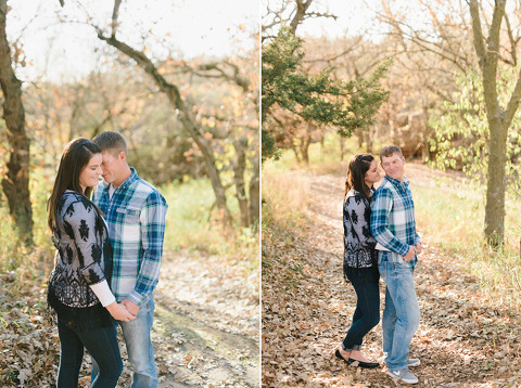 Engagement couple on leaf covered hiking trail Palisades State Park