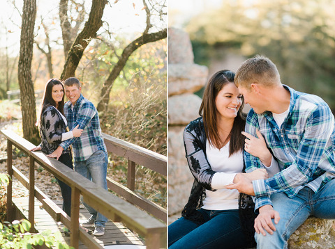 Couple on wooden bridge autumn rock climbing engagement photography Palisades SD