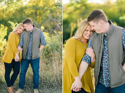 Autumn colors bright unposed genuine engagement pictures Sioux Falls