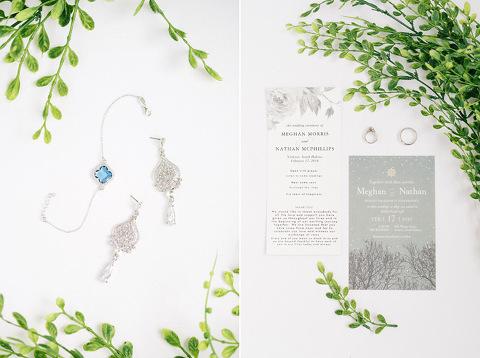 Greenery winter wedding details something blue clover bracelet modern stationery